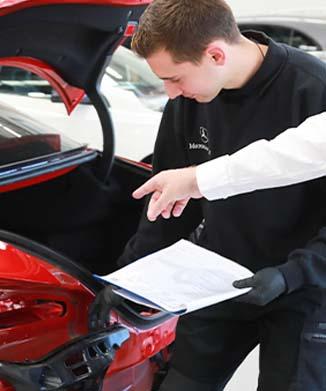 parramatta smash repair guarantee quality inspection on red mercedes benz